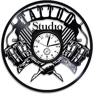 Kovides Tattoo Vinyl Record Wall Clock Tattoo Vinyl Clock Tattoo Studio Decor Tattoo Studio Wall Clock Vintage Tattoo Vinyl Wall Clock Gift for Husband Xmas Gift for Him Tattoo Clock 12 inch
