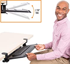 """Stand Steady Clamp On Keyboard Tray with Adjustable Tilt   Ergonomic Under Desk Keyboard Shelf   Damage-Free Easy Installation- No Drilling Required   Perfect for Home or Office! (27"""" x 11.75"""")"""