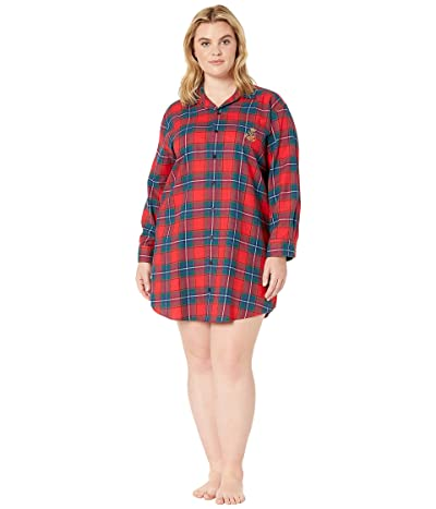 LAUREN Ralph Lauren Plus Size Brushed Twill Long Sleeve His Shirt Sleepshirt (Red Plaid) Women