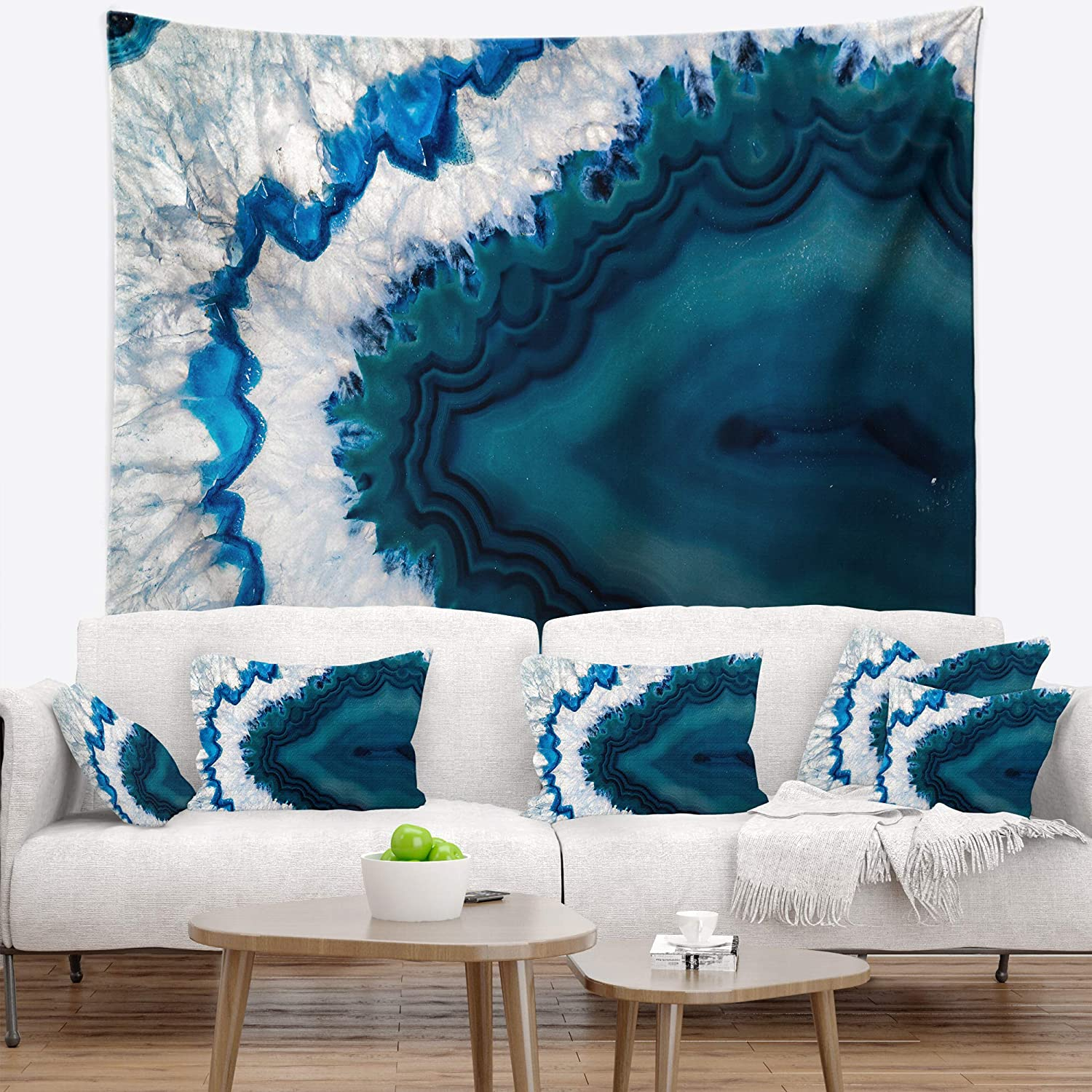Designart TAP143773932 'bluee Brazilian Geode' Abstract Tapestry Blanket Décor Wall Art for Home and Office, Medium  39 . x 32 , Created on Lightweight Polyester Fabric