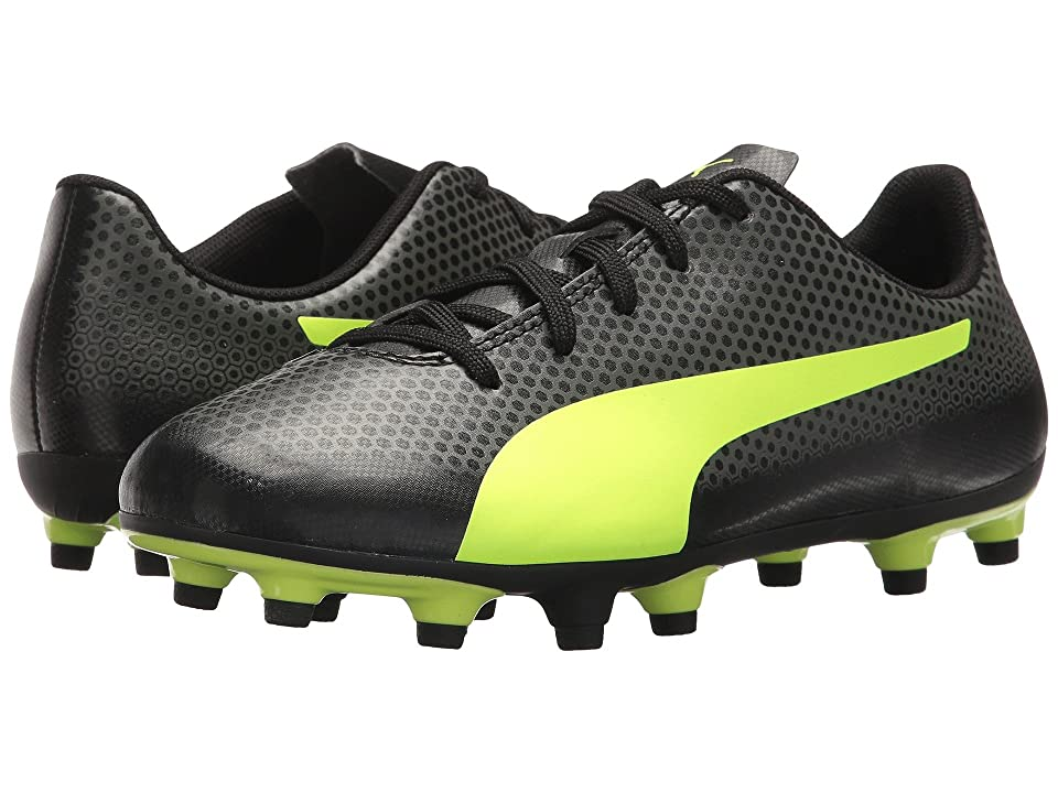 Puma Kids Spirit FG Soccer (Little Kid/Big Kid) (Puma Black/Fizzy Yellow/Castor Grey) Kids Shoes