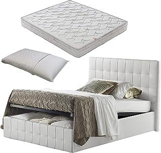 Lit 1 place et demie avec coffre en simili cuir blanc Evolution + matelas mesure 120 x 190 cm + oreiller à mémoire de form...