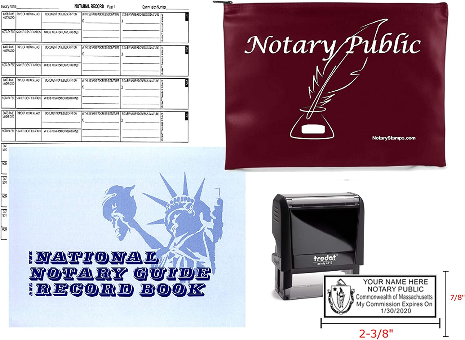 OFFicial site Notary Public Value Package New popularity Journal and Stamp Suppl Burgundy