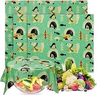 Favetrails Wachstücher- 3 Stück Bio Bienenwachstücher, Biodegradable Plastikfolie Alternative für die Lebensmittelaufbewahrung, Öko-freundlich Nachhaltige Schüsselabdeckung Tiefgrün