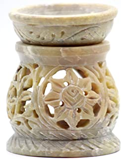 "3.5"" Handcrafted Aroma Lamp Soapstone Flower Carved Essential Incense Oil Burner/Oil Diffuser for Fragrance and Aromatherapy- by Crystal Collection"