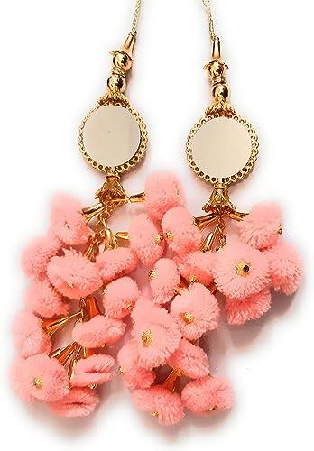 Libas Fashion Handmade Work Ethnic Hanging Latkan Color Light Pink for Women Latkan Pom Pom Bell Teasel 2 PC Blouse S...
