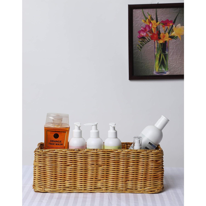 Akway Handmade Wicker Basket Bathroom Vanity Tray Wicker Kitchen Counter Top Storage Shelf Coffee Table Decorative Tray Cosmetic Organizer Display Holder 11 L X 4 5 W X 4 5 H Amazon In Home Kitchen
