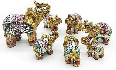 Mose Cafolo Feng Shui Set of 7 pcs ~ Vintage Golden Indian Elephant Family Statues Wealth Lucky Figurines Home Decor Housewarming Congratulatory Gift