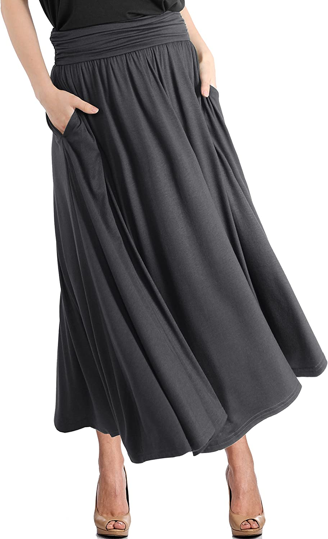 TRENDY UNITED Women's High Waist Fold Over Pocket Shirring Skirt