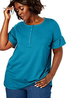 Woman Within Women's Plus Size Ruffle Sleeve Henley Tee
