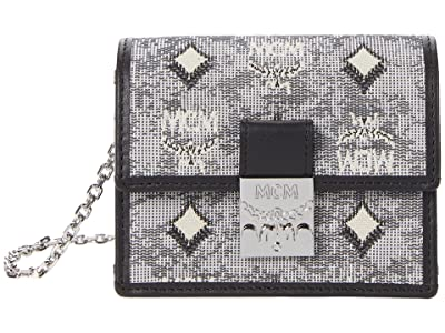 MCM Vintage Jacquard Card Wallet on a Chain
