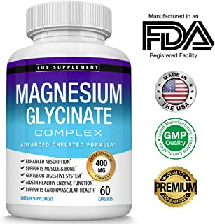 Magnesium Glycinate Complex 400 Mg Chelated Formula - Keto Mag High Absorption and Not Buffered, Supports Muscle Relaxation & Enzyme, Maximum Bioavailability, Men Women, 60 Capsules, Lux Supplement