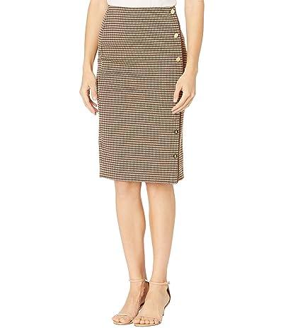 LAUREN Ralph Lauren Houndstooth Knit Jacquard Skirt (Classic Camel Combo) Women