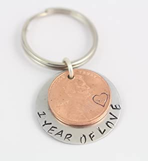1 One Year Anniversary Penny Keychain - Personalized Keyring - Key Chain - Key Ring