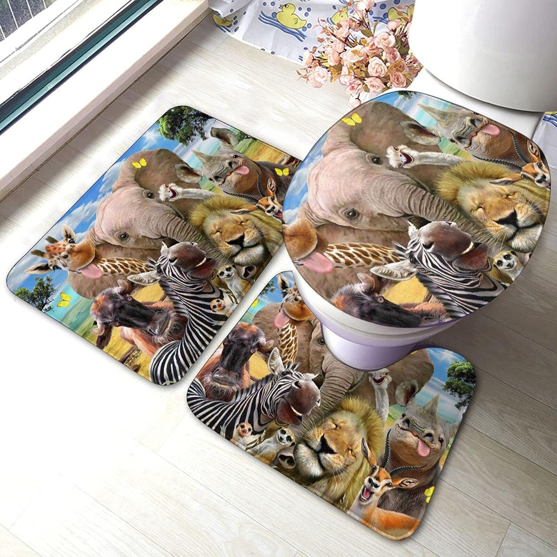 Free shipping New POMDJND Forest Animal Selfie Bath Set Mat Absorbe San Antonio Mall 3pcs Anti-Skid