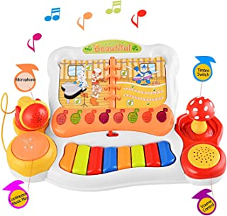 Digabi Multifunctional Keyboard Piano Musical Toy Educational E-Mini Book Electronic Instruments Microphone and Light for Kids(No.3108)