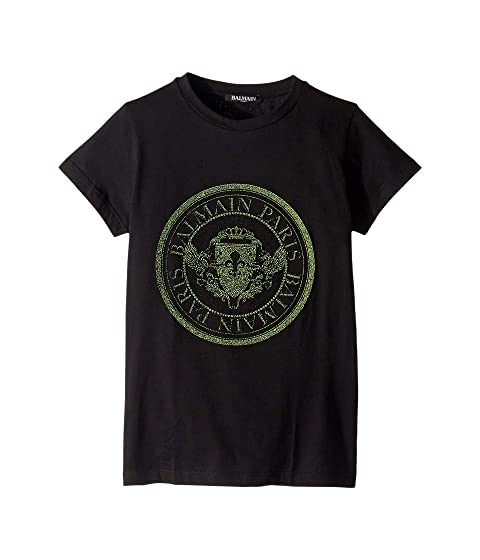 Balmain Kids Short Sleeve Textured Round Logo Tee (Little Kids/Big Kids)