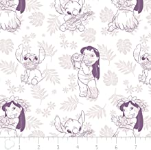 Disney Fabric Lilo and Stitch Fabric Hula Toile in Wildberry Purple by The Yard