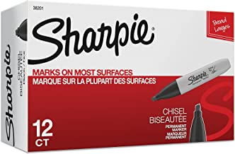 Sharpie Chisel Tip Permanent Markers; Proudly Permanent Ink Marks On Paper, Plastic, Metal, and Most Other Surfaces; Remarkably Resilient Ink Dries Quickly and Resists; Black; Pack of 12 (38201)