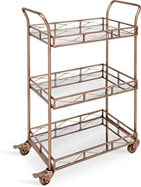 Kate and Laurel Ketia 3-Shelf Metal and Mirror Tray Bar, Kitchen, Multi-Purpose Cart, Rose Gold