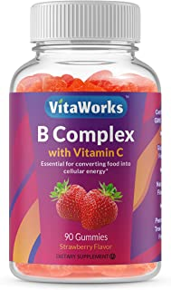 WellWorks Vitamin B Complex with Vitamin C – Great Tasting Natural Flavor Gummy Supplement – with Niacin, B6, Folic Acid, ...
