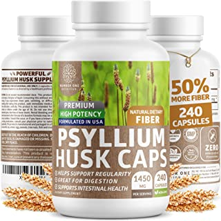 Premium Psyllium Husk Capsules [All Natural & Potent] - Powerful Soluble Fiber Supplement Helps Support Reg...