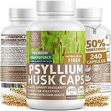 Premium Psyllium Husk Capsules [All Natural & Potent] - Powerful Soluble Fiber Supplement Helps Support Regularity & Diges...