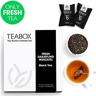 Teabox Fresh Darjeeling Muscatel Black Tea | Fragrant High-grown Tea | Weightloss, Slimming Tea | Unblended Single Origin | Box of 16 Tea Bags