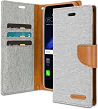 Huawei P8 Lite 2017 Wallet Case with Free 4 Gifts [Shockproof] GOOSPERY Canvas Diary Ver.Magnetic Card Holder with Kickstand Flip Cover for Huawei P8Lite2017 - Gray, HWP8L2017-CAN/GF-GRY