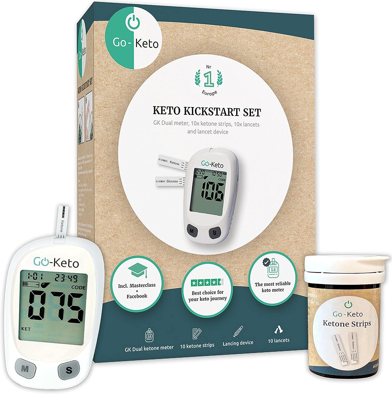 Go-Keto Kickstart Set mg/dl | Todo lo que necesita para acompañar su dieta Keto - Masterclass exclusiva de Keto, accesorios de medición de cetonas | Ketone Check para en casa y mientras viaja