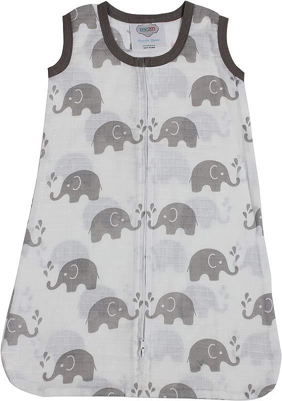 Bacati Elephants Wearable Blanket Grey Newborn