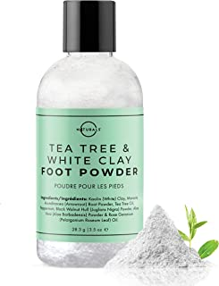 O Naturals Tea Tree Oil Kaolin Clay Foot Powder. Natural Deodorant for Men & Women Anti-Fungal Athlete Foot Care Toenail Treatment Peppermint Oil Aloe Vera Travel Size Body Nails Powder No Talc. 3.5oz