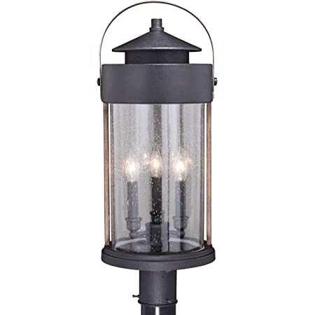 Dusk to Dawn Post Light Street Lighting Oil Rubbed Bronze with Clear Textured Glass Panels for Driveway Outdoor Lamp Post Light Fixture Photocell Sensor VAXCEL Bronze Outdoor Post Light Backyard