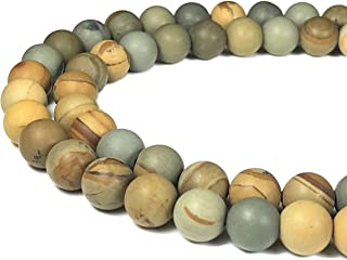 [ABCgems] Matte American Wild Horse Picture Jasper 8mm Smooth Round Beads for Beading & Jewelry Making