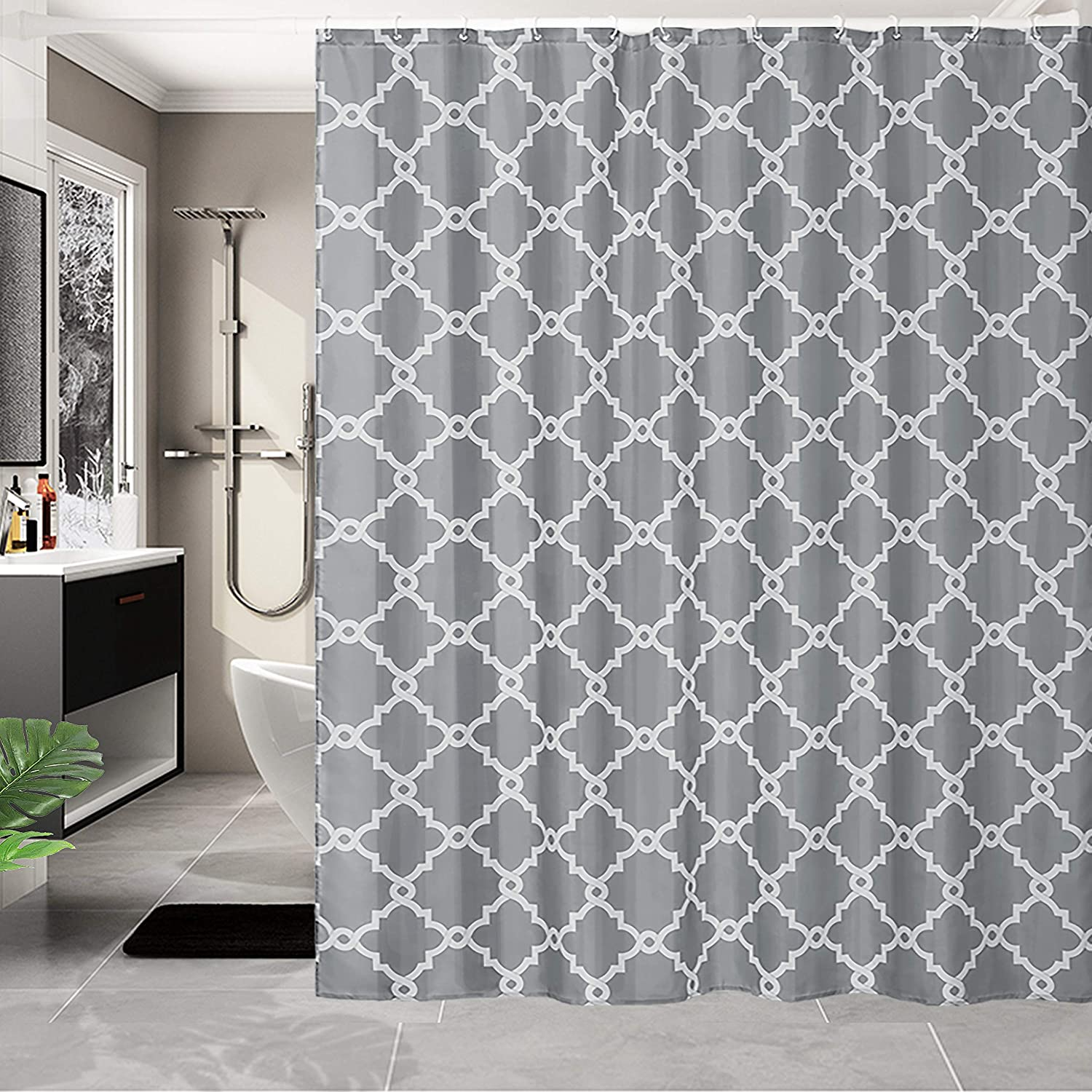 WELTRXE Shower Curtains Mold-free Mildew Resistant Bath Curtain Washable Waterproof Polyester Fabric Bathroom Curtains with 12 Hooks, 180 x 180 cm, Grey Grey Geometric
