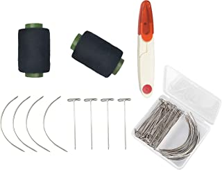 74 Pieces Wig Making Pins Needles Set 2 Pieces 328 Yard Black Sewing Thread U Shape Trimming Scissors Sliver Wig T Pins and C Type Curved Mattress Needles with Plastic Transparent Package Box