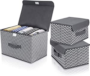 DIMJ 3Pcs Fabric Storage Bins & Storage Box with Flip-top Lid, Collapsible Large Basket Boxes for Books, Clothes, Toys Cubes, Home Bedroom Closet Office Organiser (Grey White Chevron)