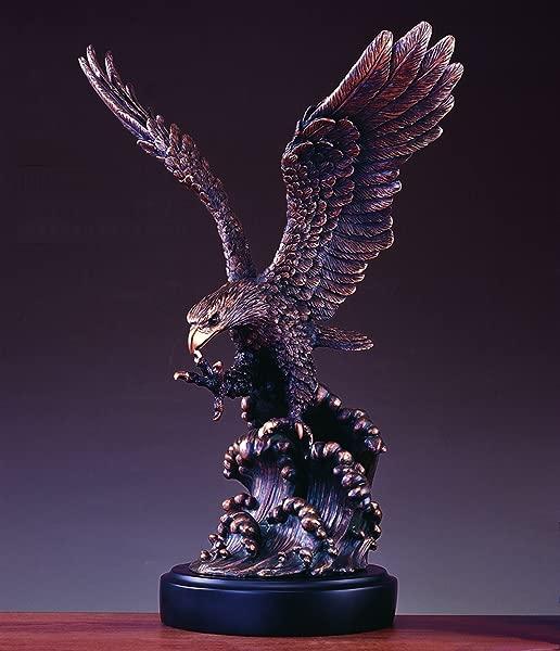 Large Eagle On Waves Statue Bronze Finish