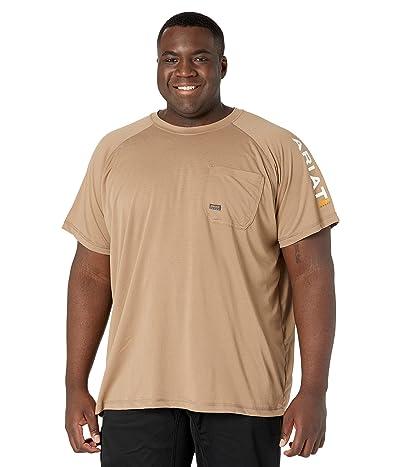 Ariat Big Tall Rebar Heat Fighter Short Sleeve T-Shirt Khaki