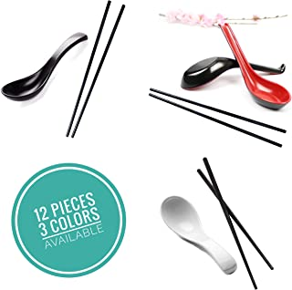 Vallenwood Not Overpriced, White Set: 12 Pieces Includes: 6 Spoon And 6 Chopsticks. Melamine. Perfect For Asian Food, Wonton, Ramen, Currys, Sushi, Miso, Rice, Pho Soups!