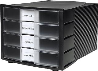 HAN 1010-X-363, module de classement Impuls, 4 tiroirs fermés, Noir/translucide clair (Import Allemagne)