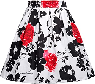 GRACE KARIN Girls Pleated Print Cotton A-Line Skirts Dresses