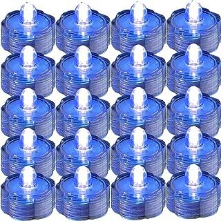 JYtrend SUPER Bright LED Floral Tea Light Submersible Lights For Party Wedding (Blue, 20 Pack)