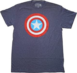 تي شيرت رجالي من Marvel Captain America Shield أزرق داكن مرقط