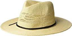PBF7337 - Woven Fedora with Faux Leather Trim