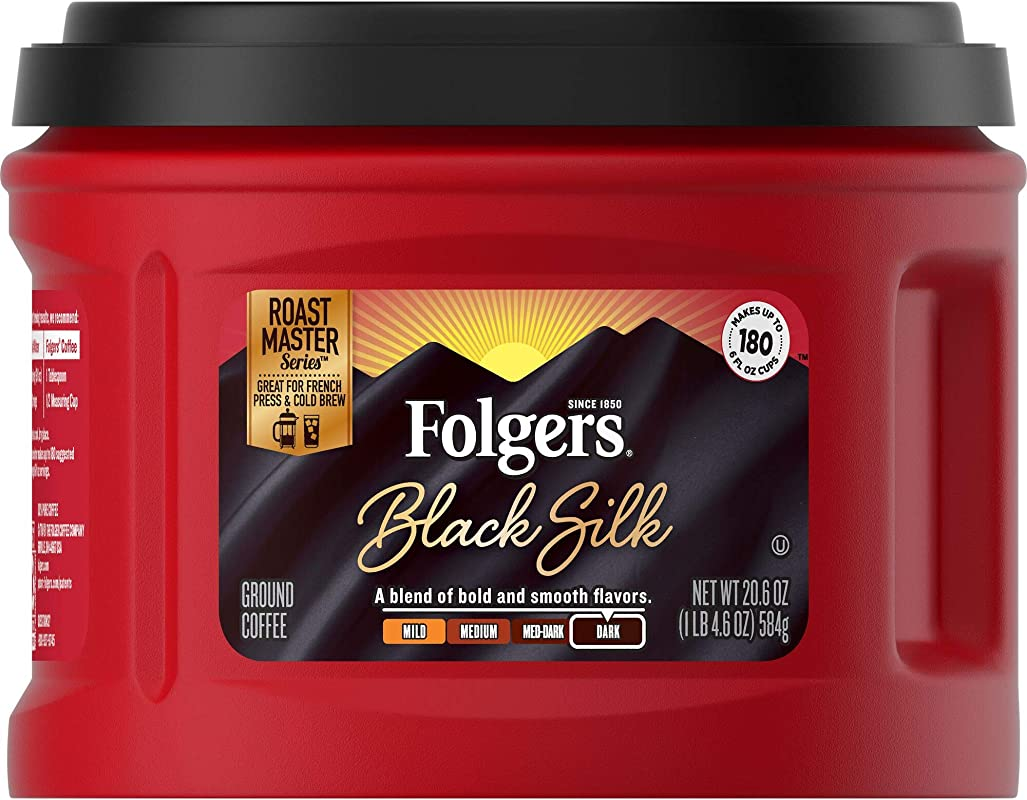 Folgers Ground Coffee Dark Roast Caffeinated Black Silk 3 Count
