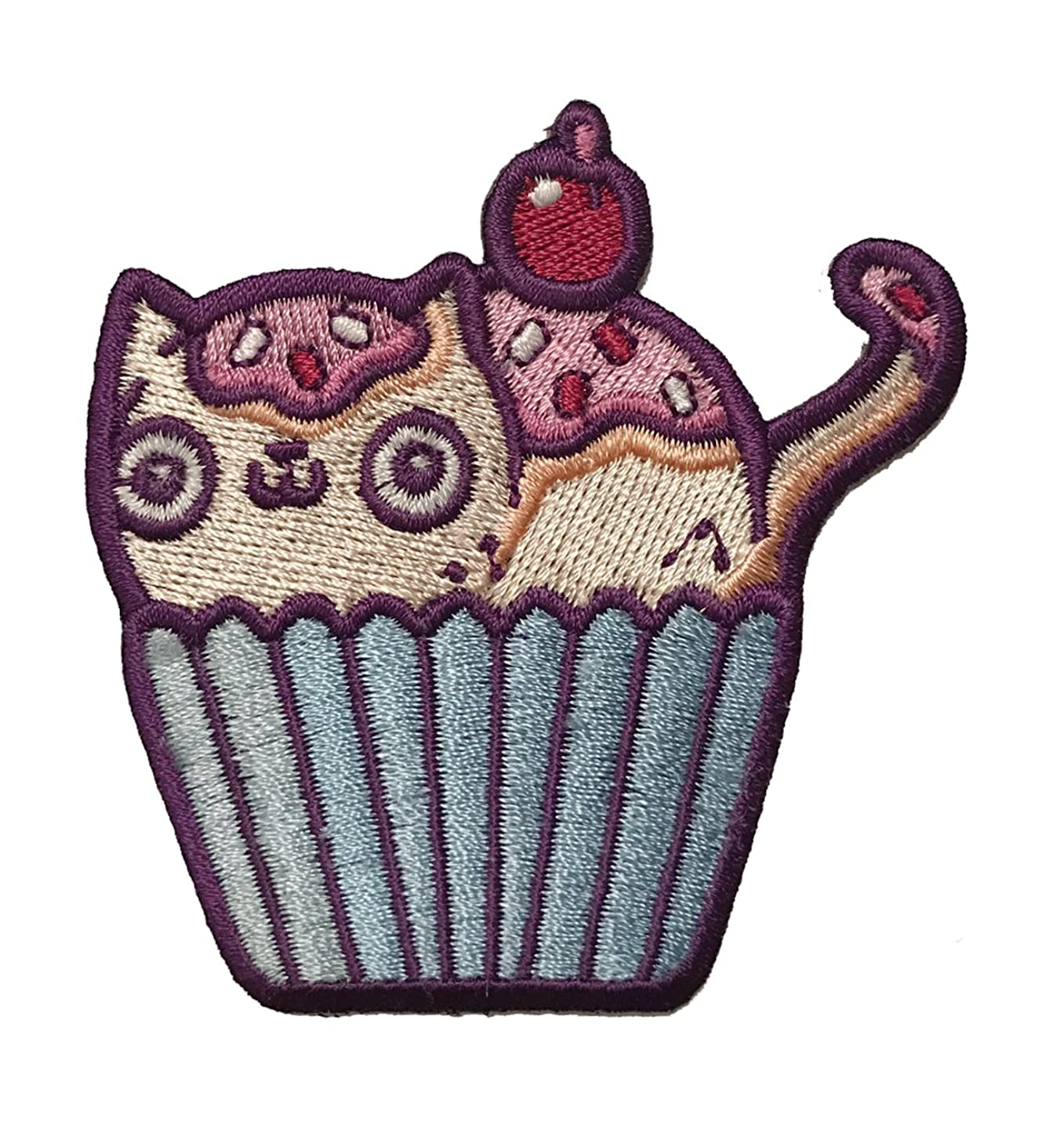 Randy Otter Cat Cupcake Cute Kitty Who is Also a Cake Iron On Patch