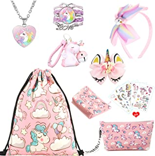 ZCOINS Unicorn Gifts for Girls, Pink Drawstring Bag Coin Purse Makeup Bag Necklace Bracelet Hair Accessories Bag Charms an...