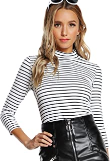 Floerns Women's High Neck Long Sleeve Slim Fit Stretch Striped T-Shirts