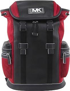 حقيبة ظهر مايكل كورس للرجال من جلد كوبر وجيب شبكي باللون الأحمر والأسود السباق، طراز 37U0MCOB6L.